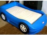 Blue little tikes car bed
