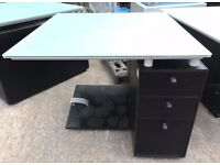 Free To Collectors - Bulo Glass Top Black Desk With Drawers & Footrest 1m - 10 Available
