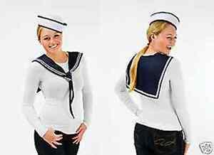 ladies fancy dress sailors outfit doughboy hat plus collar costume nautical set