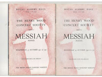 Concert Programmes 1950-55 Messiah LSO Malcolm Sargent Albert Hall