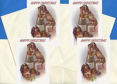 CAVALIER KING CHARLES TOY SPANIEL & DACHSHUND 4 DOG GREETING CHRISTMAS CARDS