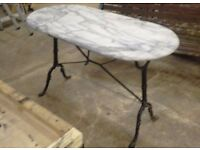 • MARBLE TOPPED HANDMADE GARDEN/ CONSERVATORY TABLE