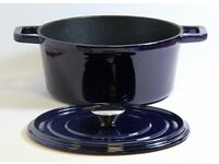 Waterside Cast Iron 24cm Round Casserole Dish Blue BRAND NEW