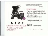 Quinny Buzz Pushchair system with Maxi Cosi car seat,raincover, etc.,