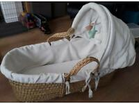 MOSES basket and wooden rocking stand in excellent condition