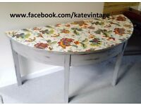 hand decorated distressed half moon table