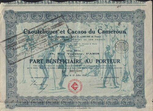 RUBBER & CACAO CAMEROON AFRICA: Caoutchoucs et Cacaos du Cameroun 1926