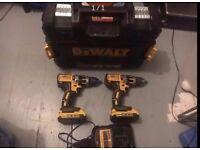 MUST SELL!!! OFFERS 2x Dewalt DCD795 18V Combi Drill + 2x 2.0ah Batteries + 1x Dewalt DCB105 Charger