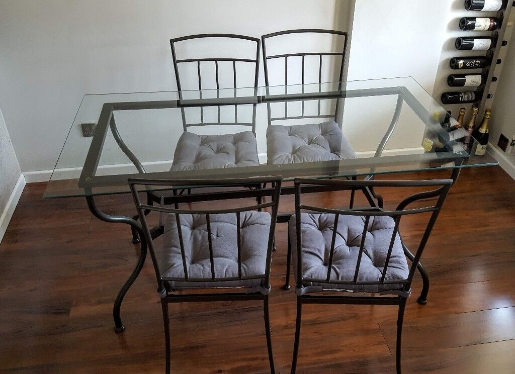 Ikea Dining Table And 4 Chairs Metal Frame With Glass Tabletop In