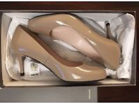 John Lewis heels size 3 36 nude taupe genuine leather brand NEW