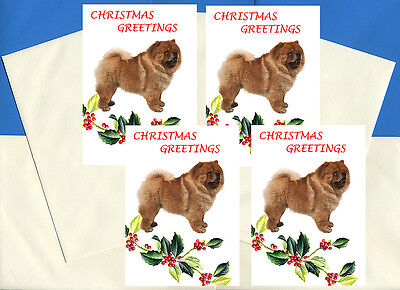 CHOW CHOW PACK OF 4 CARDS DOG PRINT GREETING CHRISTMAS CARDS