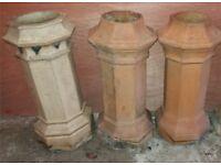 Three Victorian chimney pots antique roof salvage