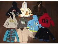 Bundle of Boys Clothes 12-18 Months: hoodie tops, cardigans, cable & sports tops