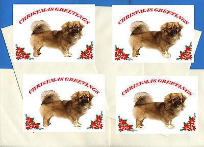 TIBETAN SPANIEL PACK OF 4 CARDS DOG PRINT GREETING CHRISTMAS CARDS