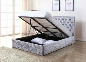 CHESTERFIELD BED WITH STORAGE-- BRAND NEW DOUBLE OR KING CRUSH VELVET BED - BLACK SILVER OR MINK