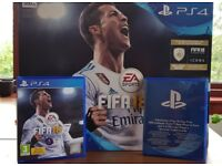 PS4 Slim 500 GB with FIFA 18 - rarely used