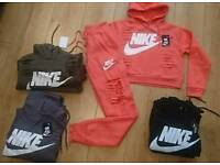 Women's ripped crop top tracksuits