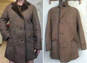 Mens 100% Lambskin Shearling Car Coat M 38 Made in UK England Brown Vintage Mint Jacket Warm Winter Mans Unisex Retro