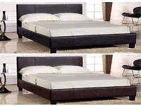 """New Double Leather Bed w 13"""" Super Orthopedic Mattress -Also Avlbl in Single and King"""