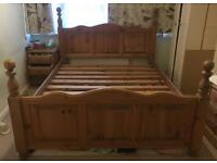 Solid wood bed frame, king size, great condition