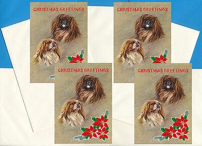 PEKINGESE PEKE PACK OF 4 CARDS DOG PRINT GREETING CHRISTMAS CARDS