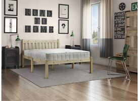 King Size pine bed frame with mattress
