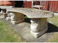 (#801) concrete dogs of fo concrete garden bench (Pick up only, Dy4 area)