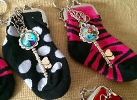 Frozen Key Necklace & Sock Purse