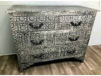 Stunning Hammered Metal Chest of Drawers