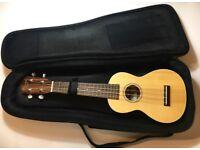 Ohana SK-22Z Spruce and Zebrawood Soprano Ukulele+Free Padded Bag, Aquila String,Aroma AT-600 Tuner!