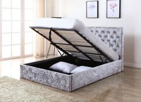 *⚫GAS LIFT HYDROLIC SYSTEM⚫* NEW DOUBLE OTTOMAN STORAGE CHESTERFIELD CRUSH VELVET BED BLACK / SILVER