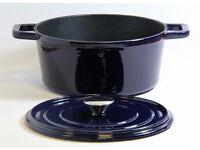 BRAND NEW! Cast Iron 24cm Round Casserole Dish Blue Pan Pot