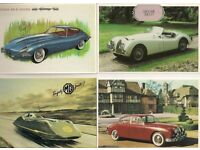 FOUR - MAYFAIR OF LONDON POSTCARDS - JAGUARS (3) - MG - MINT CONDITION AT ONLY £0.50p EACH