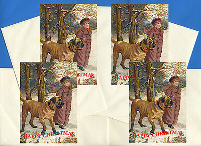 MASTIFF PACK OF 4 CARDS DOG PRINT GREETING CHRISTMAS CARDS