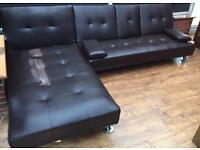 Sofa Bed Corner ( Triple plus) Brown Faux Leather