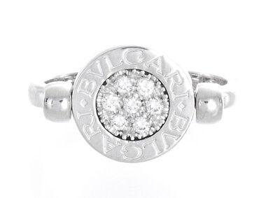 Bvlgari Flip Black Onyx Pave Diamond 18k White Gold Ring Size 6.25
