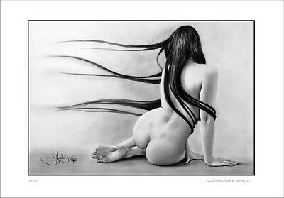 NUDE  FEMALE  STUDY   DRAWING    WARM SUMMER BREEZE            LIMITED EDITION