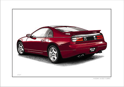 NISSAN  300ZX  TURBO  LIMITED EDITION  CAR DRAWING  PRINT ( 8 CAR COLOURS)