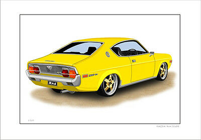 MAZDA RX4 COUPE 13B   LIMITED EDITION CAR DRAWING  PRINT ( 8 CAR COLOURS )