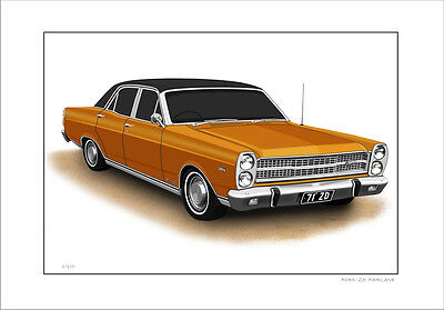 FORD  71'  ZD  FAIRLANE  500 LIMITED EDITION CAR DRAWING PRINT ( 8 CAR  COLOURS)