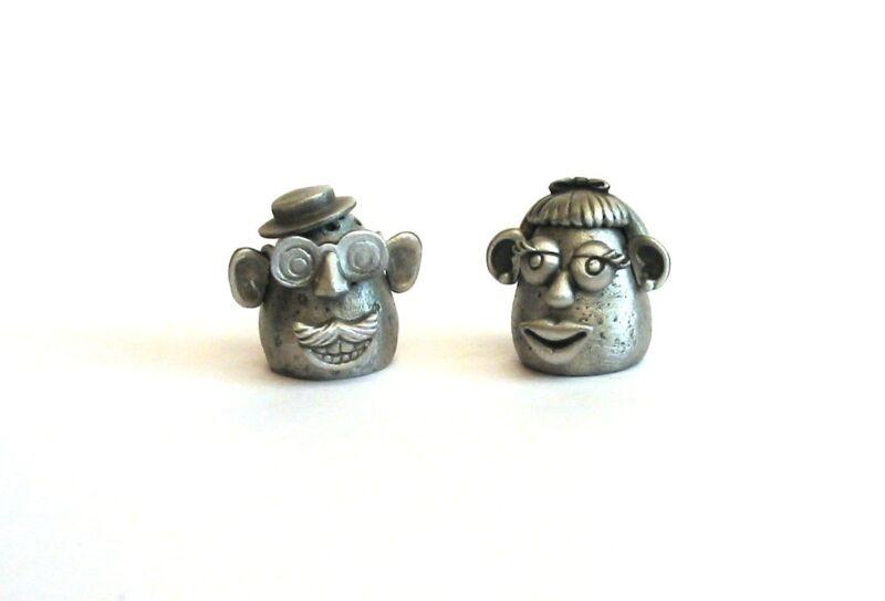 Pair of Potato Thimbles Antique Pewter A Lady & Gentleman Collectible Thimbles