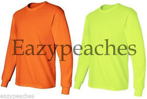 Gildan-or-Jerzees-NEW-ANSI-Safety-Long-Sleeve-T-Shirt-2400-S-5XL-HIGH-VISIBILITY