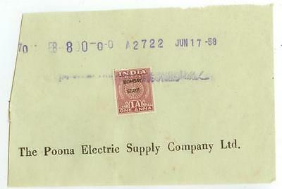 1958 India document with Revenue stamp Bombay State - Poona Electric Supply