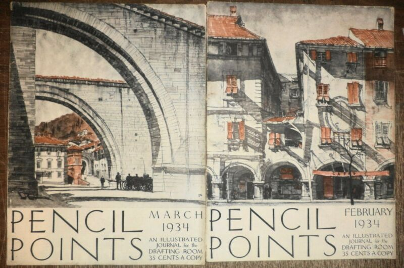 5 1934 PENCIL POINTS DRAFTING ARCHITECTURE ARCHITECTURAL DRAWINGS DESIGN HISTORY