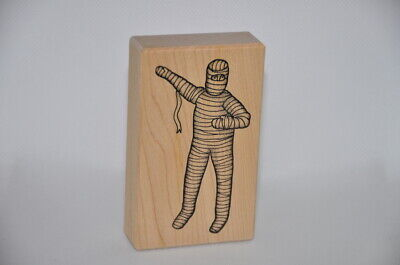 Stampa Barbara Halloween Toilet Paper Mummy Wood Mounted Rubber Stamp - Toilet Paper Craft Halloween
