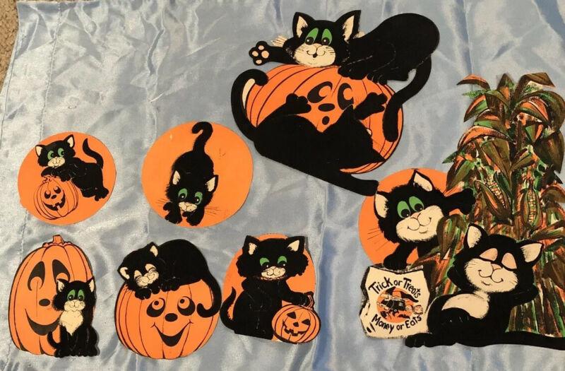 7 Vintage Halloween Cardboard Paper & Felt Cutout Wall Decorations BLACK CATS!