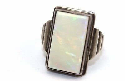 BIG Vtg ART DECO Sterling Silver OPAL Ring LOTS OF FLASH RED / MULTI COLOR Sz 10](Cheap Halo Costume)