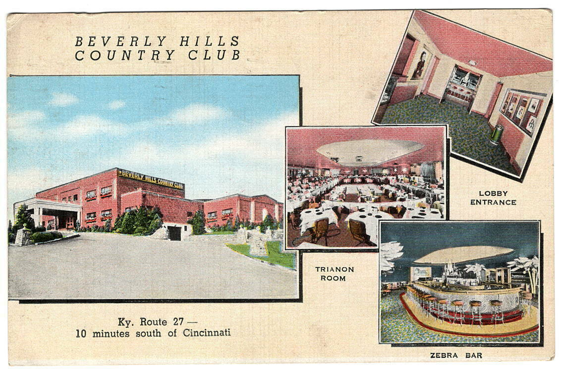 Postcard Newport KY The Beverly Hills Country Club 1944 Zebra Bar Lobby