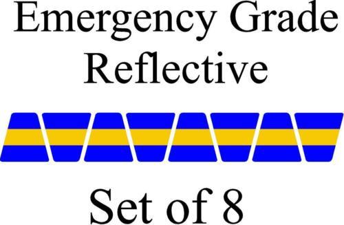 Blue w/ Yellow Stripe HELMET TETS TETRAHEDRONS HELMET STICKER  EMT REFLECTIVE