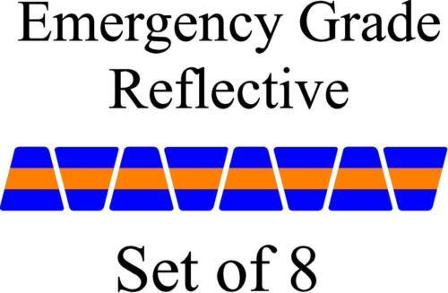 Blue w/ Orange Stripe HELMET TETS TETRAHEDRONS HELMET STICKER  EMT REFLECTIVE